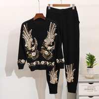 Otoño de 2019 2 unidades las mujeres cordón bordado de punto establece suéter pantalones traje de invierno de las mujeres, conjunto de dos piezas trajes