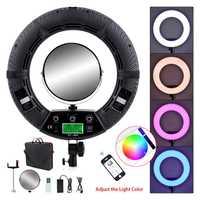 Yidoblo FC-480 de 480 Led iluminación fotográfica regulable 2800-10000 k 96 W Cámara teléfono anillo de luz lámpara y espejo