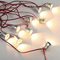 9 unids/set de luces LED para el hogar, cocina, Mini lámpara empotrada regulable, juego de iluminación LED para gabinete con enchufe, 1 W, luz descendente redonda