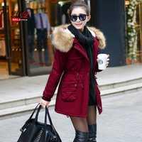 MLinina 2018 chaqueta de invierno Wadded chaquetas de mujer prendas de abrigo de invierno con capucha de algodón acolchado Cuello de piel Parkas Plus tamaño