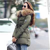 YEYELANA grande de alta calidad Real de piel de 2019 chaqueta de invierno genuino de las mujeres Collar de piel de mapache grueso con capucha abrigo de invierno Parka