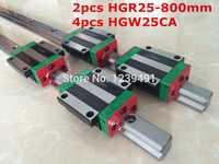 2 unids original hiwin guía lineal HGR25-800mm con 4 unids HGW25CA brida piezas cnc