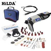 HILDA 180 W Enchufe europeo taladro eléctrico estilo Dremel herramienta eléctrica giratoria con eje Flexible unids 133 piezas accesorios conjunto bolsa de almacenamiento