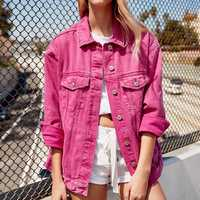 Novio Denim chaqueta otoño mujer Abrigos 2018 nueva Rosa rojo verde negro solapa solo pecho Casual otoño Jeans Streetwear