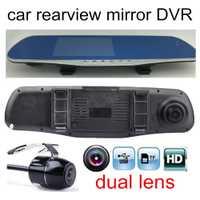 Alta calidad 4,3 pulgadas coche DVR espejo de revisión lente doble FHD 1080 P coche grabadora de vídeo incluye cámara trasera aparcamiento Cámara