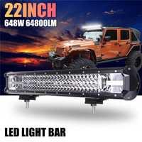 22 pulgadas 648 W Auto LED Barra de luz de trabajo foco Combo lámpara de conducción para coche camión fuera de carretera 2017 XR657