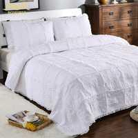 ROMORUS Luxury Palace Style 3-Pieces/Set blanco 100% algodón acolchado juego de sábanas de cama fundas de almohada nueva funda de cama 230 * cm