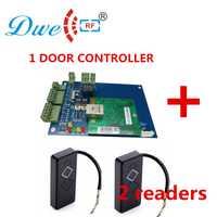 DWE CC RF tcp ip una puerta wiegand controlador de acceso puerta panel de control de acceso con unids 2 PCs 125 Khz wiegand lector libre