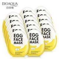 Unids 100 unidades BIOAQUA máscara de hoja suave nutritiva humectante máscara facial de huevo para el cuidado de la piel