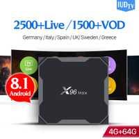 X96 Max IPTV España Box Android 8,1 S905X2 4G 64G 2,4G y 5G Wifi con IUDTV código IPTV Italia Reino Unido Suecia árabe IP TV España X96Max