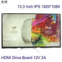 E & M 13.3 pulgadas 1920*1080 IPS pantalla coche Raspberry Pi 3 Xbox LCD módulo MP4 Monitor HDMI tablero de la impulsión DIY 1080 p LED displayer