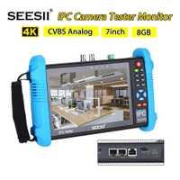 SEESII 9800PLUS 7 pulgadas 1920*1200 IP Cámara probador 4K 1080P IPC CCTV Monitor Video Audio prueba pantalla táctil HDMl descubrimiento 8GB