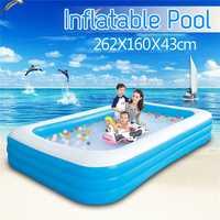 262X160X43cm grande taille enfants usage domestique pataugeoire gonflable piscine carrée conservation de la chaleur enfants piscine gonflable