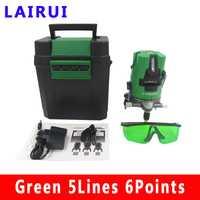 Lairui 5 línea nivel láser verde láser rotatoria de 360 grados medición diagnóstico-herramienta con batería de litio DHL libre