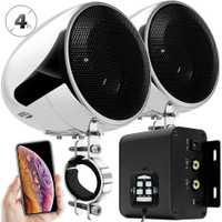 Ensemble Audio moto aijump M150 avec amplificateur stéréo 2ch, haut-parleurs étanches 4 pouces, Bluetooth, Radio FM, AUX MP3 (Chrome)