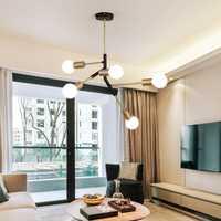 Nórdicos minimalista moderno 5 cabezas luz de techo de moda creativa de hierro forjado E27 lámpara de techo para habitación sala de restaurante