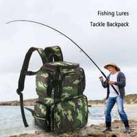 /Lixada bolsa de aparejos de pesca bolsa de camuflaje de gran capacidad mochila bolsa de almacenamiento de pesca señuelos caja de cebo para caza de viaje Camping