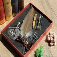 Caja de regalo Vintage Harry Potter Metal curvado pluma Natural pluma conjunto con 5 puntas, portalápices, sello, cera Quill Signature Pen regalo