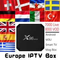 Europa IPTV X96mini Android 7,1 TV BOX con 7000 de 8000 VOD Alemania Reino unido España Italia holandés Europa nórdica HD IPTV Set Top Box