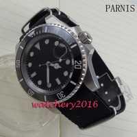 Nuevo 40mm Parnis dial negro luminosa marcadores de bisel de cerámica negra número blanco movimiento automático de los hombres de negocios reloj