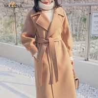 Mulena suelto nueve puntos manga cintura ajustable larga de lana mezcla abrigo mujeres, acogedor cálido Oficina ropa de mujer de invierno