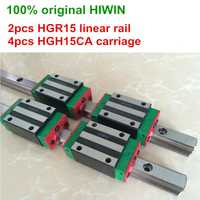 100% original HIWIN 2 piezas HGR15 200mm 300mm 400mm 500mm 600mm 700mm 800mm 1000mm guía lineal rail 4 piezas HGH15CA HIWIN Carriage