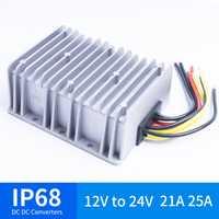 12 V a 24 V 21A 25A DC convertidor de voltaje impermeable IP68 CE certificado 12VDC a 24VDC 21AMP 12 V 24 V convertidor