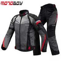MOTOBOY verano transpirable motocicleta Racing chaquetas y pantalones trajes reflectantes Motocross chaqueta ropa con CE equipo de protección