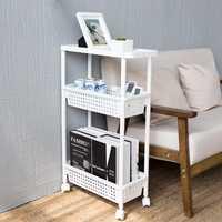 Alta calidad móvil estantería organizador con 3 capa estante del refrigerador estrecho espacio delgado Pantry Rack para cocina Baño