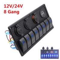 8 bandas LED azul basculante Panel de interruptor barco marino coche RV protección de sobrecarga de circuito impermeable para ambos 12 V y sistema de 24 V
