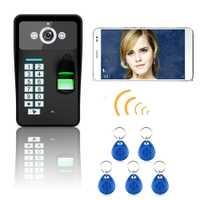 Mountainone impermeable HD720P inalámbrico WIFI contraseña huella reconocer vídeo puerta timbre del teléfono del sistema de Control de acceso