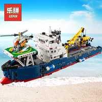 Lepin ciudad rescate 20034 búsqueda barco Compatible Legoinglys Technic bloques de construcción ladrillos niños juguetes 42064 niños