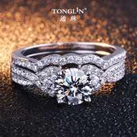 2 piezas de plata Real anillos de Zircon de joyería CZ Diamant anillo de compromiso de las mujeres de Plata de Ley 925 anillos de boda conjunto