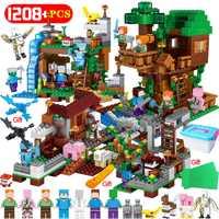 1208 pcs Mon Monde Blocs de Construction LegoING Minecrafted Village Cheval de Bataille Ville Arbre Maison Cascade Éducatifs Jouets Pour Enfants