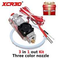 XCR3D 3D impresora boquilla partes 3 en 1 Multi-color extremo caliente Kit 1,75mm NF THC-01 tres colores de conmutación de 12 V/24 V calentador de