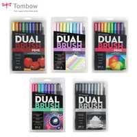 Tombow ABT double pinceau stylo marqueurs d'art calligraphie dessin stylo ensemble lumineux 10-Pack brosse pliable pointe Fine aquarelle lettrage