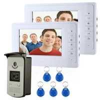 Cerradura eléctrica Color TFT de 7 pulgadas pantalla LCD del teléfono Video de la puerta Visual intercomunicador timbre de desbloqueo de RFID de la visión nocturna IR cámara