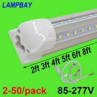 2-50/paquete en forma de V luces de tubo LED 2ft 3ft 4ft 5ft 6ft 8ft 270 ángulo bulbo T8 accesorio integrado conectable Bar lámpara Super brillante