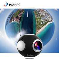 Podofo 360 cámara panorámica cámara Mini 360 HD ancho Dual lente de ojo de pez VR vídeo cámara para Android acción del deporte cámara TypeC