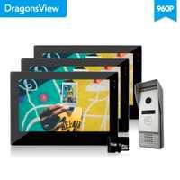 Dragonsview 7 pulgadas cable de vídeo Puerta de teléfono 3 monitores con 1 intercomunicador timbre 960 P 1.3MP de vídeo de la Cámara de ángulo ancho 2,3mm instantánea