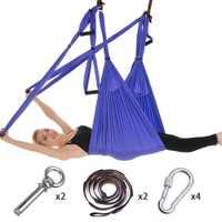 Ensemble complet 6 poignées Anti-gravité aérienne Yoga hamac balançoire volante trapèze Yoga Inversion exercices dispositif maison GYM suspension ceinture