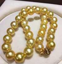 Joyería enorme 12-14mm genuino natural Sur mar collar de perlas de oro