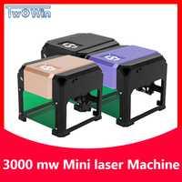 3000 mW CNC grabador láser DIY logotipo marca cortador de impresora máquina de grabado láser máquina de carpintería 80x80mm grabado de