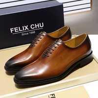 FELIX CHU de los hombres simple dedo Wholecut Oxford Zapatos de vestir de cuero genuino negro zapatos pintados a mano zapatos de hombre Formal zapatos de hombre