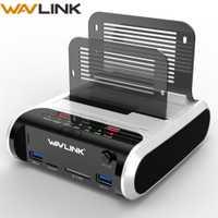 Wavlink 3,0 3,5 pulgadas USB 2,5 a SATA Dual-Bay Hard Drive estación de acoplamiento con clon sin conexión y lector de tarjetas UASP para 3,5
