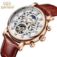 KINYUED montre homme Automatique Phase de Lune Calendrier Tourbillon Mens Squelette montres mécaniques Or En Cuir Militaire montre-bracelet