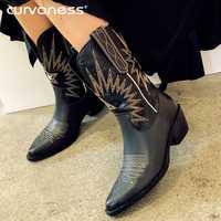 Botas de vaquero de cuero genuino blanco Beige negro Curvaness para mujer botas de tacón Med botas de vaquera occidental 2019 Otoño Invierno