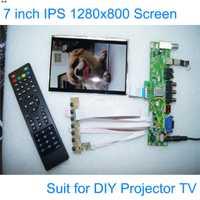 E & M 7 pulgadas proyector DIY TV 1280*800 pantalla LCD módulo Monitor USB Mp4 jugador DIY 1080 P VGA AV frambuesa PI 3 con control remoto
