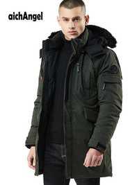 Invierno hombre chaqueta de abrigo cálido para Parkas chaquetas de los hombres chaqueta con cremallera de cuello chaqueta Plus tamaño Casual Parka