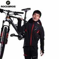 ROCKBROS bicicleta deporte de invierno chaqueta de lana térmica cálido a prueba de viento montando bicicleta camisetas resistente al agua chaqueta reflectante